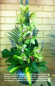 Modern Arrangement with Cymbidium Orchid